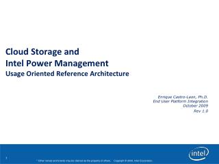 Cloud Storage and  Intel Power Management  Usage Oriented Reference Architecture