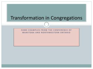 Transformation in Congregations