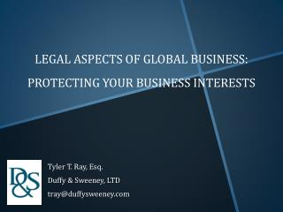 Legal Aspects of Global Business: Protecting your business  interests