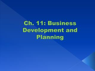 Ch. 11: Business Development and Planning