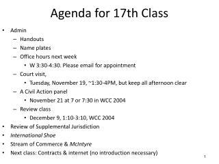 Agenda for  17th  Class