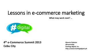 Lessons in e-commerce marketing