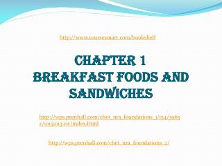 CHAPTER 1 BREAKFAST FOODS AND SANDWICHES