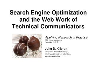 Search Engine Optimization and the Web Work of Technical Communicators