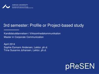 3rd semester: Profile or Project- based study
