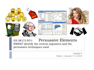 G9.3R.C3.PO1:        Persuasive Elements SWBAT identify the central argument and the persuasive techniques used.