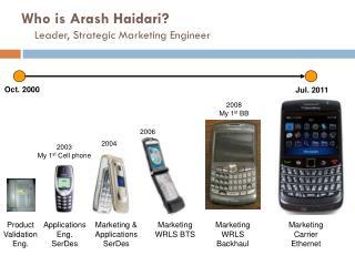 Who is  Arash Haidari? Leader,  Strategic  Marketing Engineer