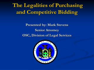 The Legalities of  Purchasing and Competitive Bidding