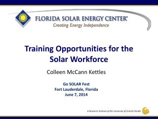 Training Opportunities for the Solar Workforce