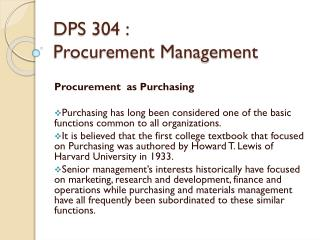 DPS 304 :  Procurement Management