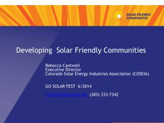 Developing  Solar Friendly Communities