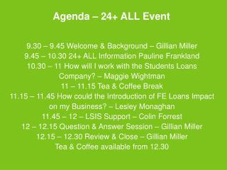 Agenda – 24+ ALL Event