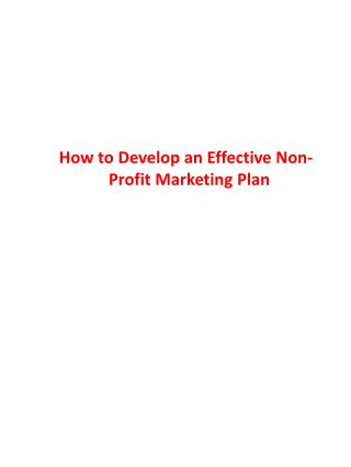 How to Develop an Effective Non-             Profit Marketing Plan