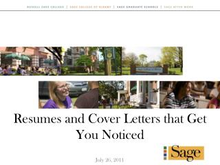 Resumes and Cover Letters that Get You Noticed