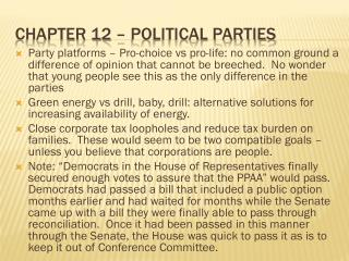 Chapter 12 – Political parties