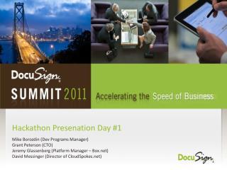 Hackathon Presenation  Day #1