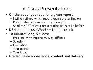 In-Class Presentations