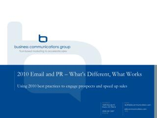 2010 Email and PR – What's Different, What Works