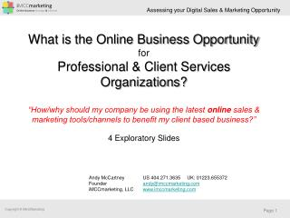 What is the Online Business Opportunity for Professional & Client Services Organizations?