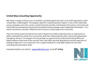 United Way Consulting Opportunity