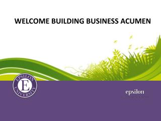 Welcome Building Business Acumen