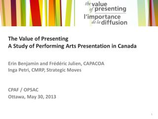 The Value of Presenting A Study of Performing Arts Presentation in Canada
