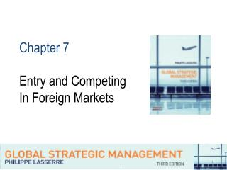 Chapter 7 Entry and Competing In Foreign Markets
