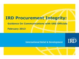 IRD Procurement Integrity: