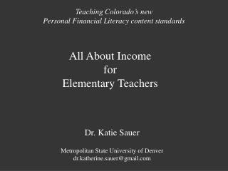 All About  Income for Elementary Teachers
