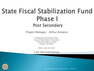 State Fiscal Stabilization Fund Phase I  Post Secondary