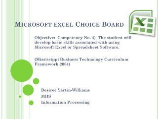 Microsoft excel Choice Board