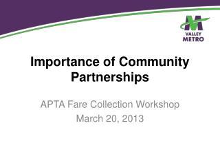 Importance of Community Partnerships