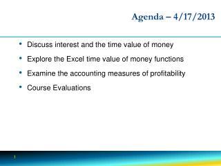 Agenda –  4 /17/2013