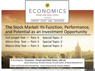The Stock Market:  Its  Function, Performance,  and Potential  as an  Investment  Opportunity