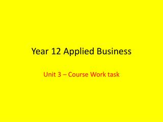 Year 12 Applied Business
