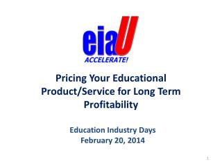 Pricing  Your  Educational Product/Service for Long Term Profitability