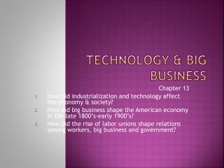 Technology & Big Business