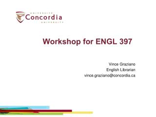 Workshop for ENGL 397