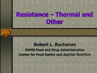 resistance   thermal and other