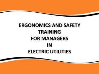 Ergonomics and Safety Training  for managers  in  ELECTRIC Utilities