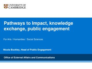 Pathways to Impact, knowledge exchange, public engagement