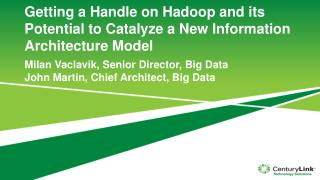 Getting a Handle on Hadoop and its Potential to Catalyze a New Information Architecture  Model