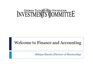 Welcome to Finance and Accounting