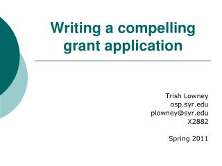 Writing a compelling  grant application