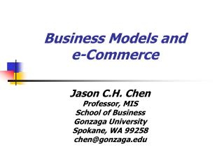 Business Models and   e-Commerce