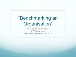 """""""Benchmarking an Organisation"""""""
