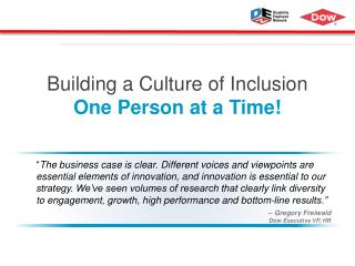 Building a Culture of Inclusion One Person at a Time!