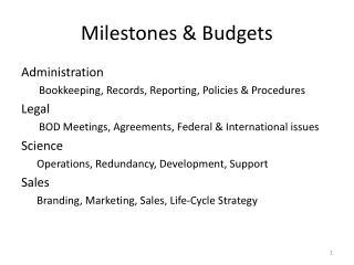 Milestones & Budgets