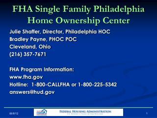 FHA Single Family Philadelphia Home Ownership Center