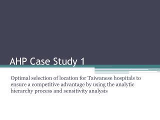 AHP Case Study 1